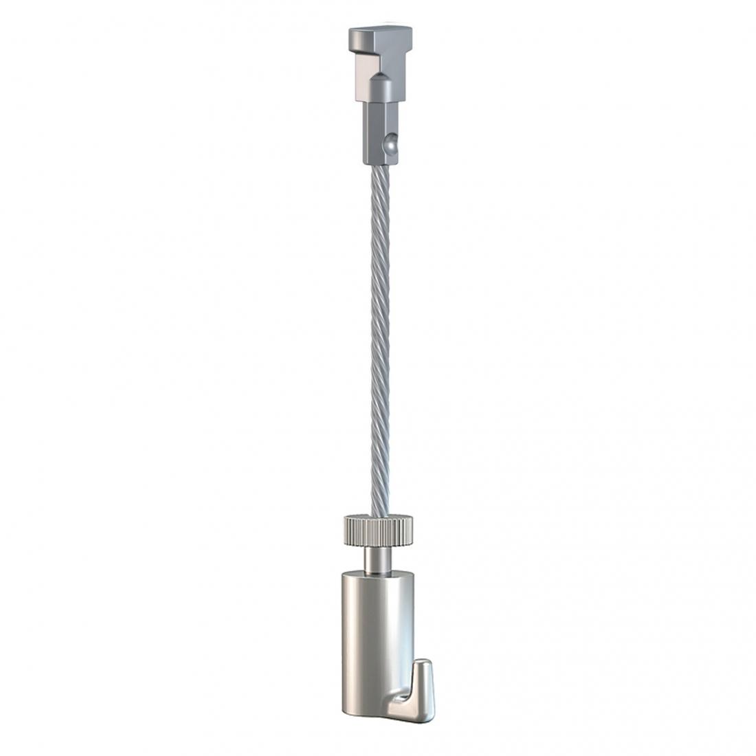 KIT CABLE de ACERO con gancho para colgador para guias para colgar cuadros artiteq, modelo TWISTER de 15 KG
