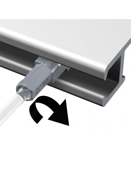 dispositivo seguridad KIT CABLE de ACERO con gancho colgador para guia para colgar cuadros artiteq, modelo TWISTER de 7 KG