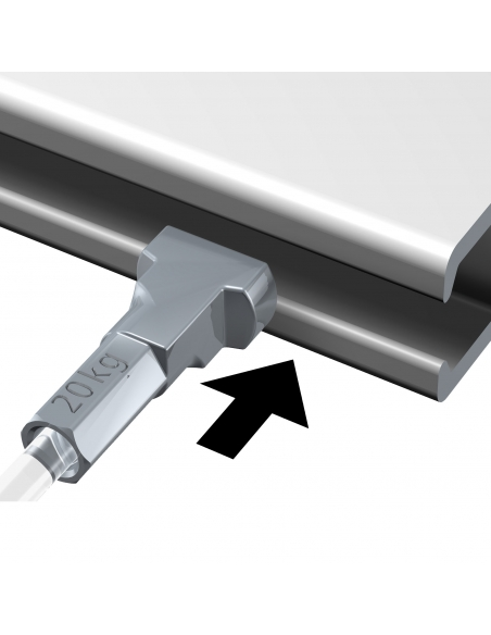 dispositivo seguridad KIT CABLE de NYLON con gancho colgador para guias para colgar cuadros artiteq, modelo TWISTER de 4 KG