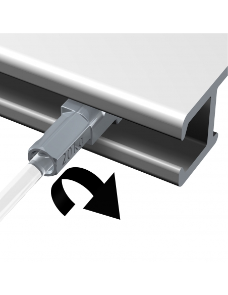 dispositivo seguridad CABLE ACERO para guias para colgar cuadros artiteq, de 1,8 mm, con cabezal conector TWISTER, de 2 metros