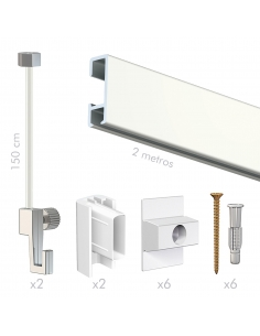 kit tira perfil riel guia para colgar cuadros sin hacer agujeros blanca, de pared, artiteq, con cable nylon tope invisible