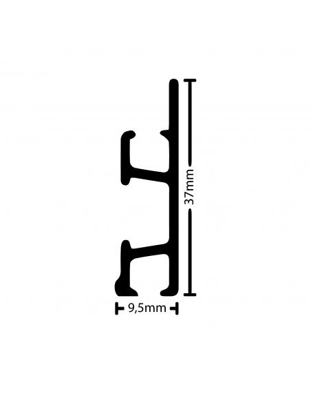 medidas de la tira de perfil guia y riel para colgar cuadros PRO 50 Kg, de artiteq