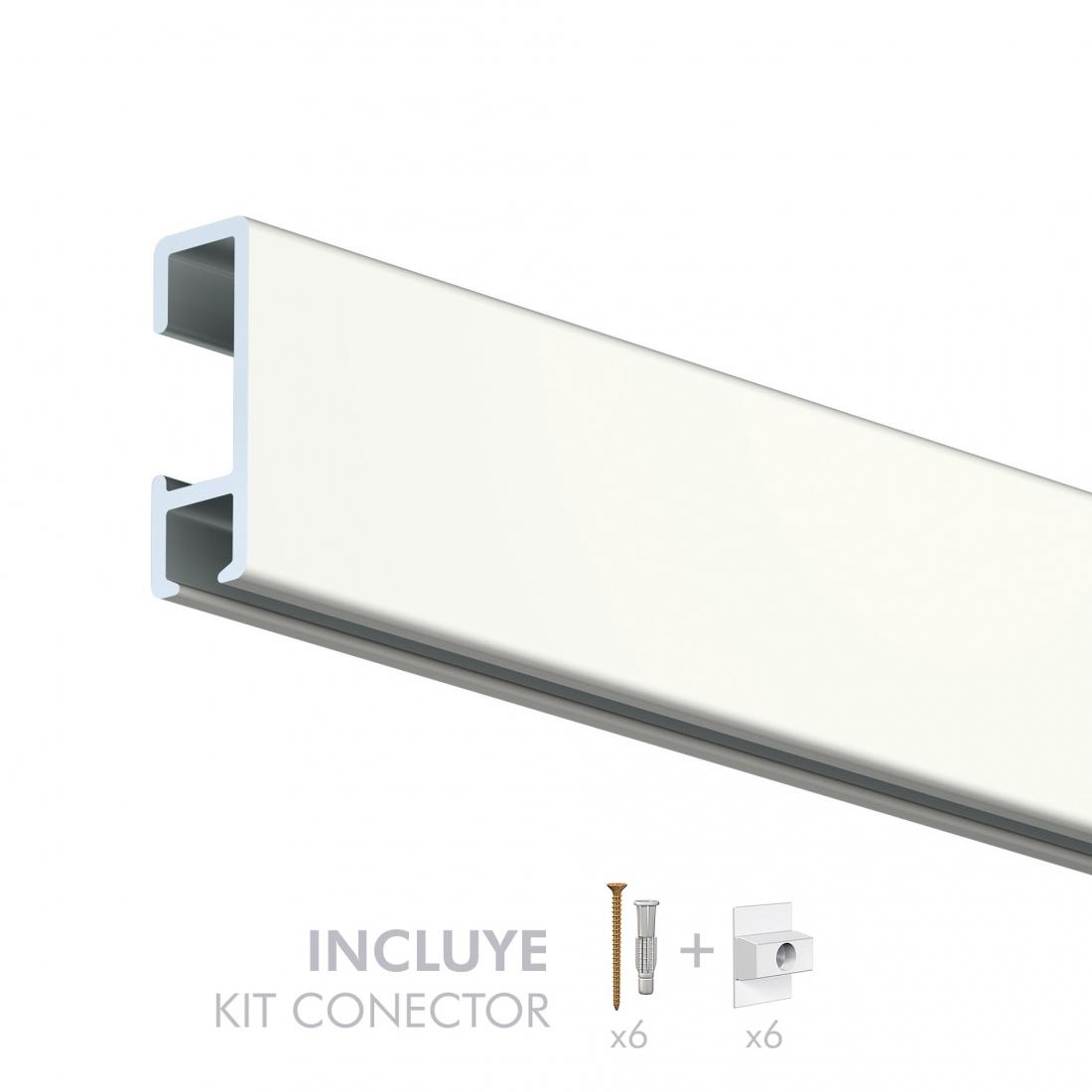 tira de perfil, riel y guia para colgar cuadros de pared 20 Kg, artiteq, de color blanco