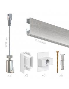 kit guia perfil riel guia para colgar cuadros sin hacer agujeros Aluminio, de pared, artiteq, con cable acero twister