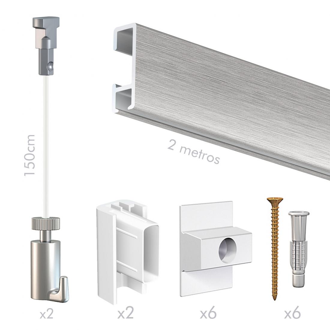 kit tira perfil riel guia para colgar cuadros sin hacer agujeros Aluminio, de pared, artiteq