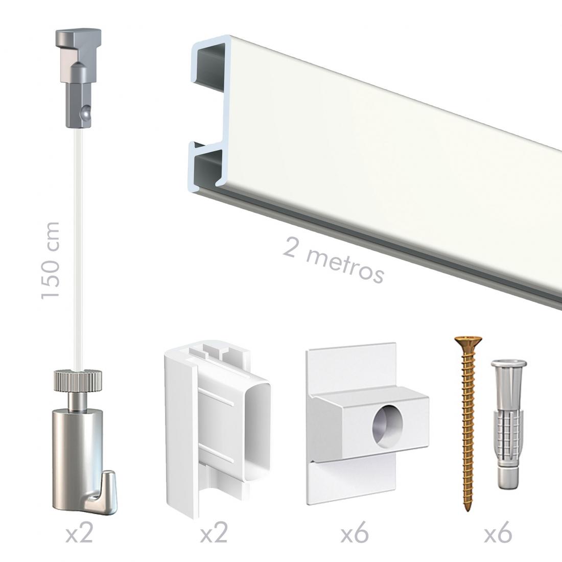 kit guia para colgar cuadros sin hacer agujeros blanca, de pared, artiteq con cable nylon y gancho colgador twister
